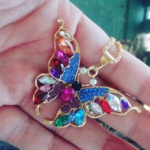 Betsey Johnson rainbow butterfly necklace